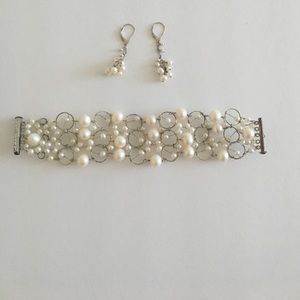 Jewelry - Silver and fresh water pearl bracelet and earrings